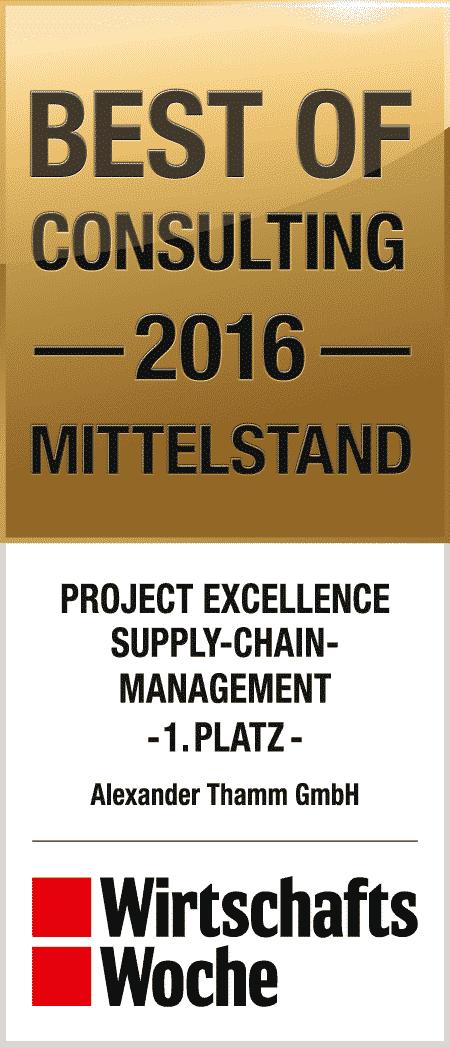 Preis der Wirtschaftswoche für Project Excellence im Suplly-Chain-Management Best of Consulting