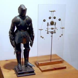 Mechanischer Roboter-Ritter nach einer Idee von Leonardo da Vinci (um 1495). Nachbau aus dem 17. Jahrhundert.